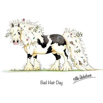 Alex Underdown Blank Greeting Card  'Bad Hair Day'