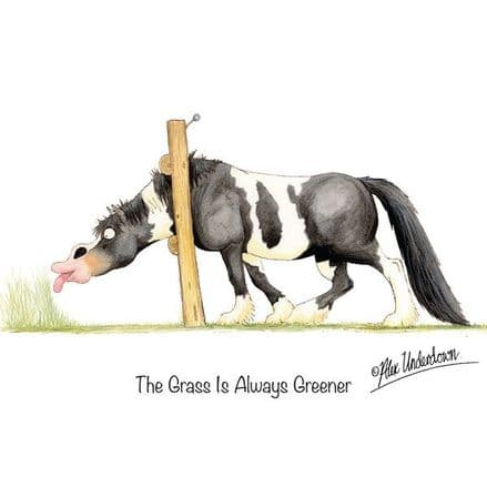 Alex Underdown Blank Greeting Card  'Grass Is Always Greener'