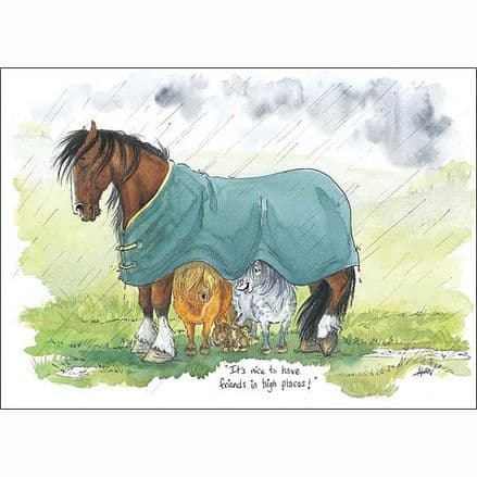 Alison's Horses Card - 'It's Nice to have Friends in High Places'