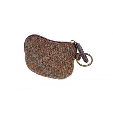 Elise British Tweed Coin/Card Purse  - Brown/Gold/Blue Check