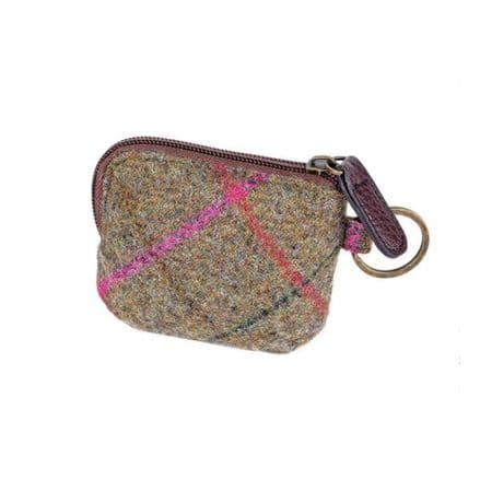 Elise British Tweed Coin/Card Purse - Olive/Cerise Check