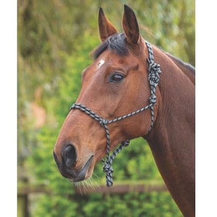 Shires Rope Control Headcollar - Black/White
