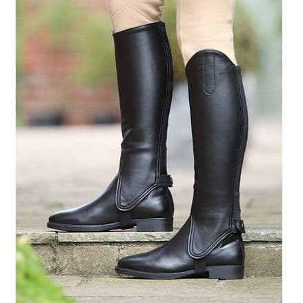 Shires Synthetic Leather Gaiters - Junior Black