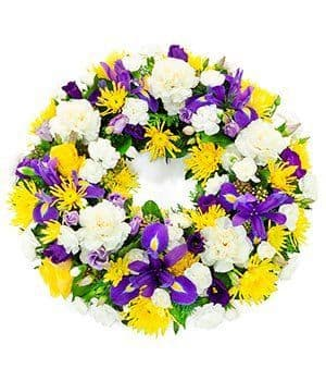 Yellow & Blue & White Wreath