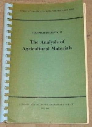 Analysis of Agricultural Materials - 0112408877