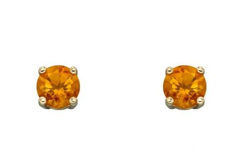 Citrine Gold Stud Earrings