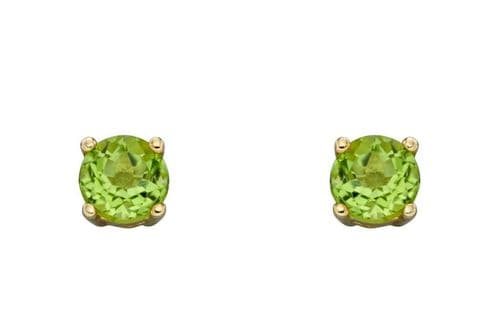 Peridot Gold Stud Earrings