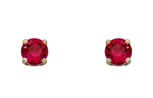 Ruby Gold Stud Earrings