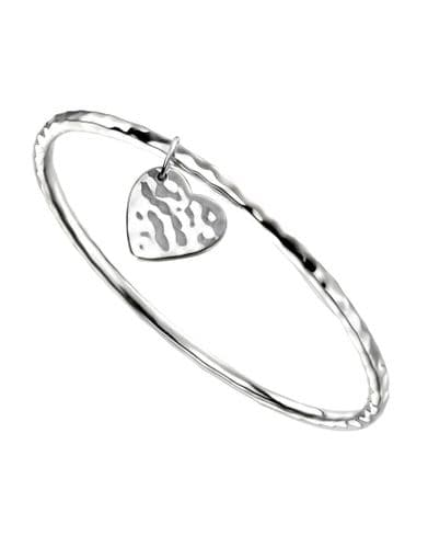 Silver Hammered Bangle with Hammered Heart Charm