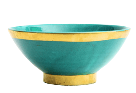 Moroccan Ceramic Bowl Jade Green with Edge in Gold Brass Large Handmade 20 cm / 8