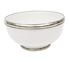 Moroccan Ceramic Bowl with Silver Edge. 12 cm Handmade in Morocco. (White)