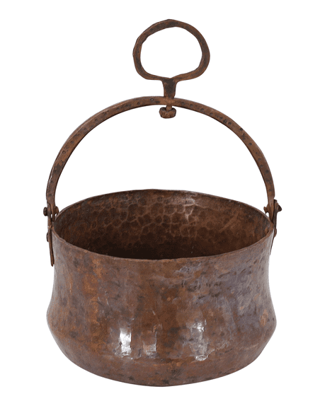 Moroccan Copper Hammam Bucket Vintage Large Antique Hammered Height 11 cm Diameter 17 cm CHB6