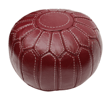 Moroccan LargePouffe Pouf Ottoman Footstool COVER ONLY or STUFFED Real BURGUNDY Leather. Handmade