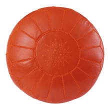 Moroccan Orange Pouffe Pouf Ottoman Footstool COVER ONLY or STUFFED Real Leather