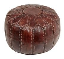 Moroccan Pouffe Pouf Ottoman Footstool in Genuine Brown Tan Leather Cover Only or Stuffed Handmade