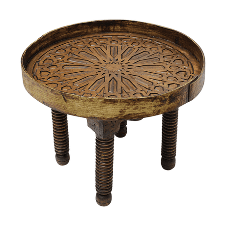 Moroccan Round Table Vintage Antique Wood Hand Engraved Diameter 50cm/20