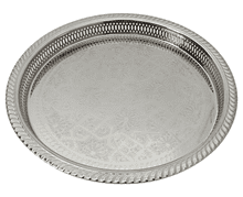 Moroccan Serving Tray Silver Maillechort Handmade Engraved Authentic Fes Design 40 cm / 16 in STA5