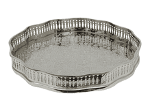 Moroccan Serving Tray with Small Feet Silver Maillechort Engraved Polygonal 29cm 11.4 inches (STA6)