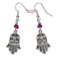 Moroccan Silver Earrings with Purple Beads Hamsa Design