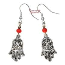Moroccan Silver Earrings with Red Beads Hamsa Design