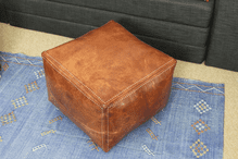 Moroccan Square Pouf Pouffe Ottoman Footstool Cover Real Natural Tan Leather 45x45x35 cm