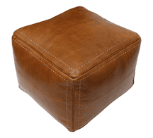 Moroccan Square Pouffe Pouf Ottoman Footstool in Real Natural Tan Leather 45x45x35 cm 18x18x14 in