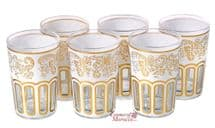 Moroccan Tea Glasses White & Gold Beautiful Classical Design Hand Painted Decorated (Pack of 6)