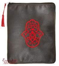 "Tablet Pouch with Hamsa Design Suitable for Ipads Handmade Black 26 cm x 21 cm / 10.2"" x 8.3"""