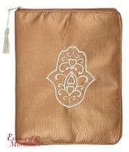 "Tablet Pouch with Hamsa Design Suitable for Ipads Handmade Metallic  Bronze 26 x 21cm / 10.2"" x 8.3"""