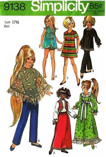 ' PDF Digital  Download Simplicity 9138 Vintage Sewing Pattern Teenage Fashion Dolls 17 1/2'' Crissy