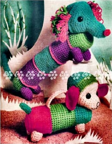 PDF Digital Download Vintage Crochet Pattern Dachshund Sausage Dog Stuffed Plush Soft Toy Animal