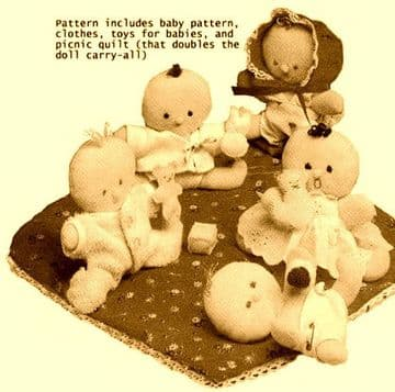 """PDFVintage Sewing Pattern to make Cute 4"""" Baby Dolls with Clothes  & their Picnic Blanket"""