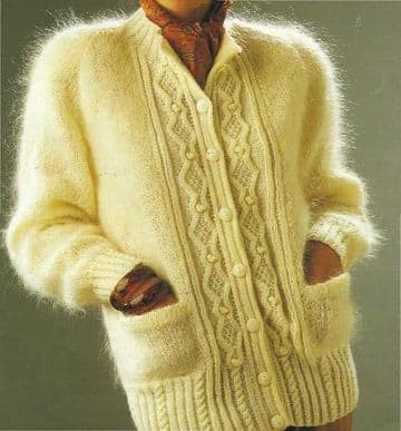 A Knitting Pattern to make Ladies Aran Inspired Super Cable Panel Mohair Jacket or Cardigan Bust 30
