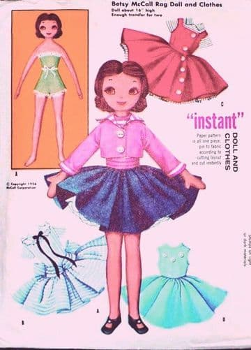 "A Vintage Sewing Pattern to make A 16"" Betsy McCall Rag Doll with a Wardrobe of Clothes Cloth Doll"