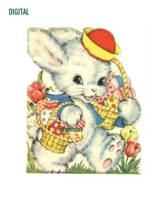 Cross Stitch Pattern to make A Cute Vintage Bunny Rabbit Approx Size 4.8 x 4'' 14 sts per inch