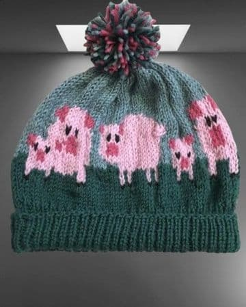 DF Digital Download Vintage Knitting Pattern Adult's Child's Beanie Hat Pig Motifs