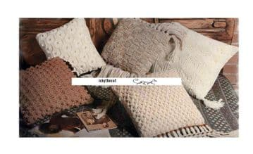 Digital Download PDF Knitting & Crochet Pattern 5 Aran Cushions Pillows Macrame Trim
