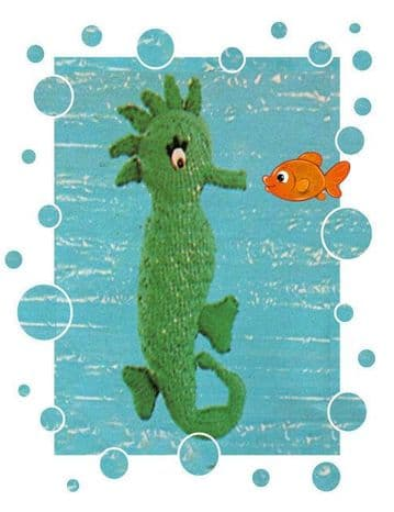 Digital Download PDF Knitting Pattern 14'' Seahorse Cushion/Pillow/Soft Toy