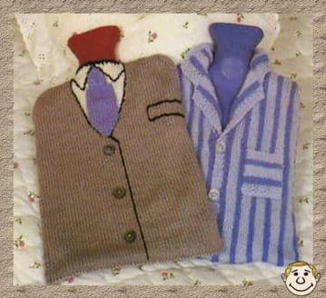 Digital Download PDF Knitting Pattern 2 Men's Novelty Hot Water Bottle Covers