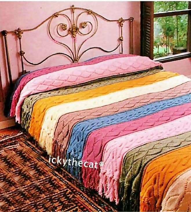 Digital Download PDF Knitting Pattern Aran Strip Cable Bedspread Bed Cover