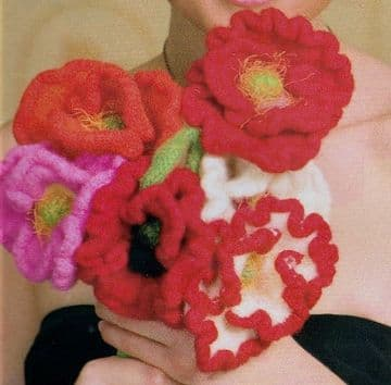 Digital Download PDF Knitting Pattern Bouquet of Flowers 6 Designs ​​​​​​​Light Fingering Yarn
