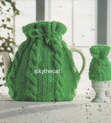 Digital Download PDF Knitting Pattern Cable Tea & Egg Cosy Cozy  23 x 24 cm DK/8 ply yarn