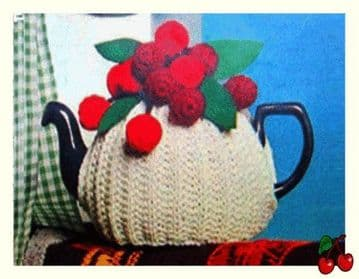 Digital Download PDF Knitting Pattern Cherry Topped Tea Cosy Cozy Country Kitchen