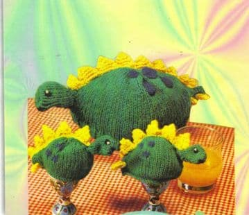 Digital Download PDF Knitting Pattern Dinosaur Tea Cosy Cozy & Egg Cosies Cozies DK/8 ply
