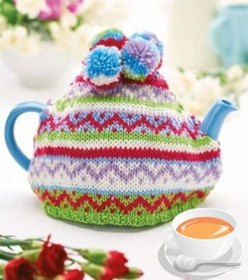 Digital Download PDF Knitting Pattern Fair Isle Tea Cozy Cosy DK