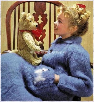 Digital Download PDF Knitting Pattern  Girl's Brushed Dressing Gown or Robe w/ Scottie Dog