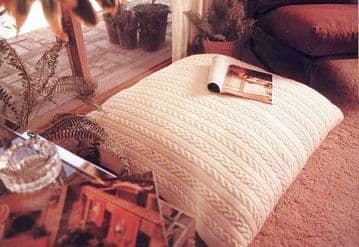 Digital Download PDF Knitting Pattern Large Aran Style Cable Floor Cushion Pillow or Beanbag 35-36