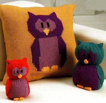 Digital Download PDF Knitting Pattern ​​​​​​​Owl Cushion,Doorstop & Soft Toy Toys
