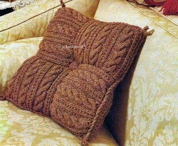 Digital Download PDF Knitting Pattern Textured Square Cable Patchwork Aran Scatter Sofa Cushion