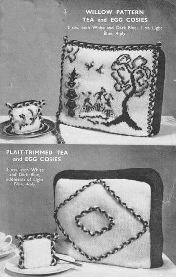 Digital Download PDF Knitting Pattern Willow Pattern Chinese Tea Cosy Cozy & Egg Cozies